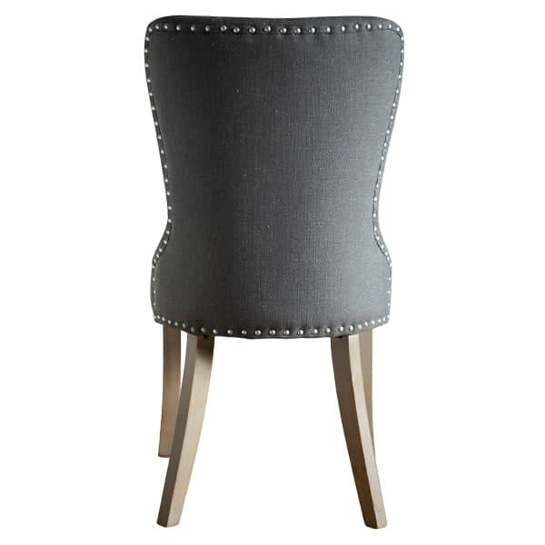 Brook Grey Upholstered Dining Chairs Back