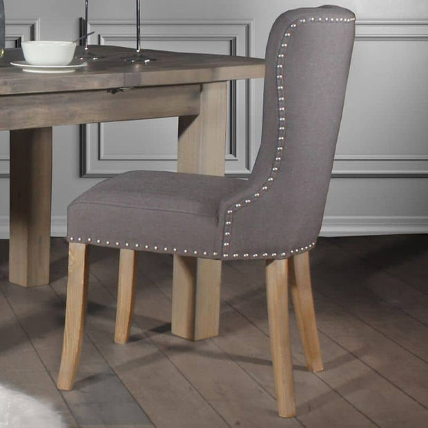 Brook Grey Fabric Dining Chair with studs