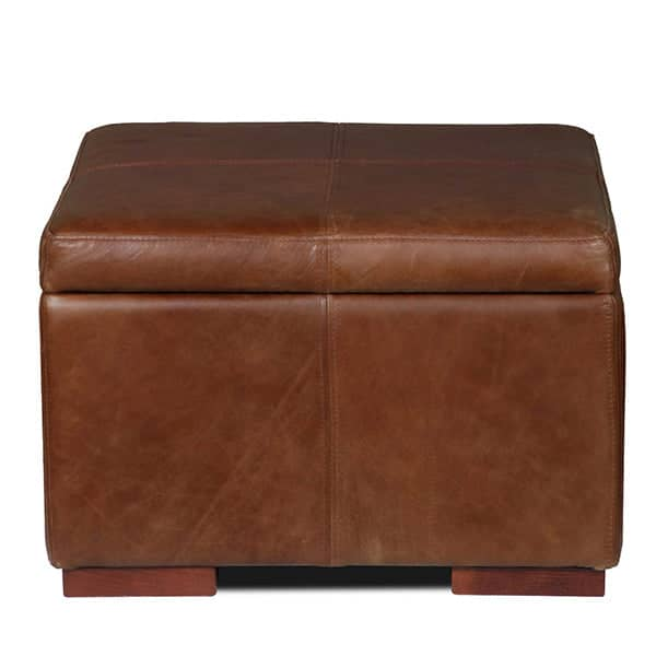 Leather Cushioned Storage Footstool