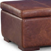 Leather Storage Footstool Close up