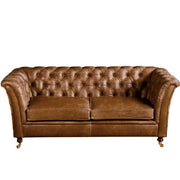 Caesar 2 Seater Brown Cerato Chesterfield Sofa