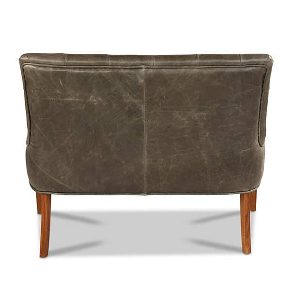 Castello Grey Leather Dining Bench back view- Modish Living