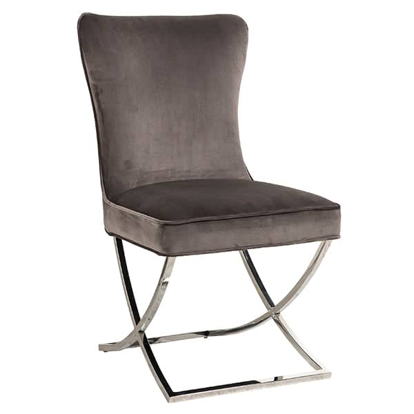 Celine Mouse Grey Fabric Dining Chair Side