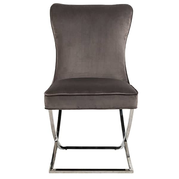 Celine Mouse Grey Fabric Dining Chair Front