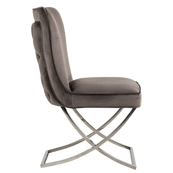 Celine Mouse Grey Fabric Dining Chair Side view