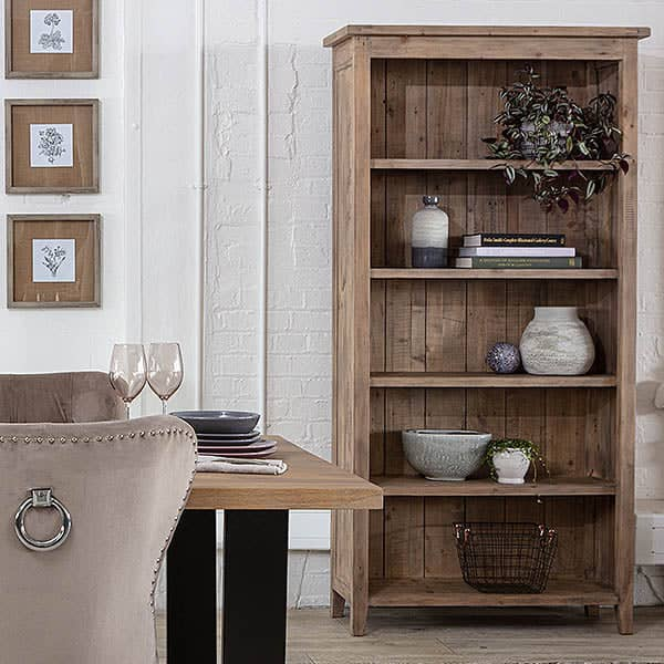 Chelwood Reclaimed Wood Bookcase in Room with Dining Table