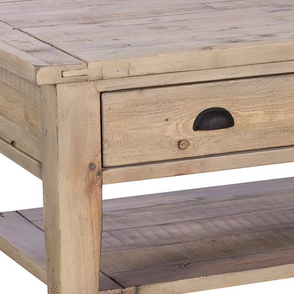 Chelwood Reclaimed Wood Coffee Table Close up of Drawer