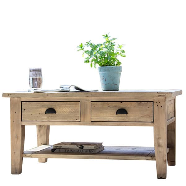 Chelwood Reclaimed Wood Coffee Table Cutout Lifestyle