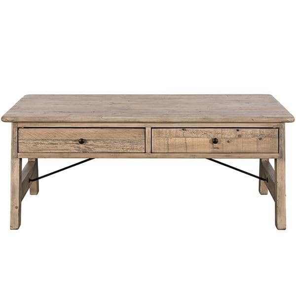 Wooden coffee table made from reclaimed wood with black steel details