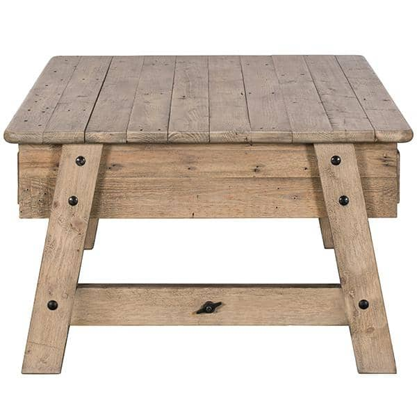 Side view of Chelwood reclaimed wood coffee table