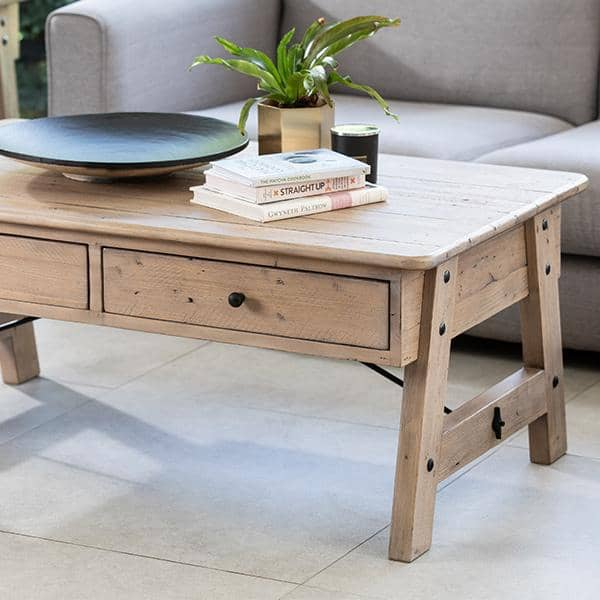 Solid Wooden Coffee Table made from reclaimed wood in living room