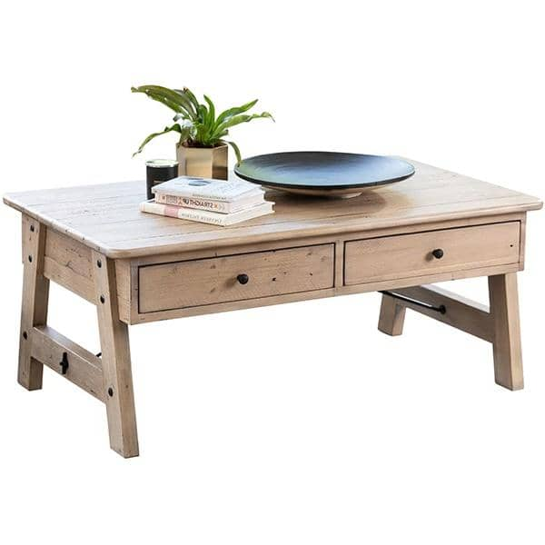 Chelwood reclaimed wood coffee table with 2 storage drawers