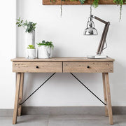 Chelwood reclaimed wood console table with 2 storage drawers