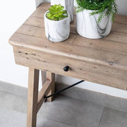 Top of Chelwood wooden console table made from reclaimed wood