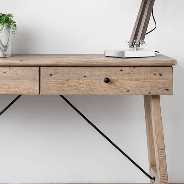 Reclaimed wood console table featuring black steel