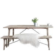 Chelwood Reclaimed Wood Dining Table and Bench Cutout