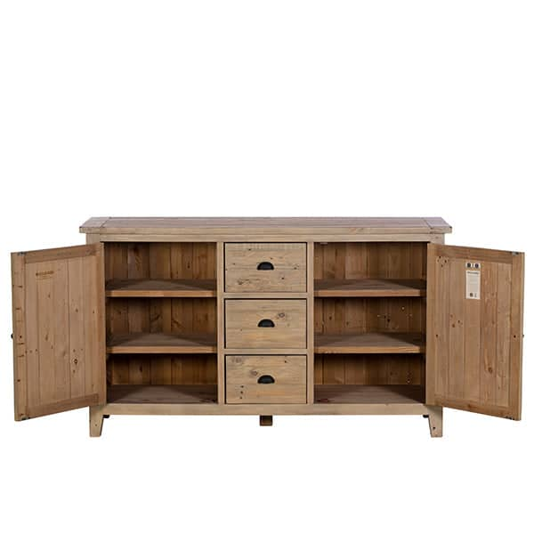 Chelwood Large Reclaimed Wood Sideboard Open