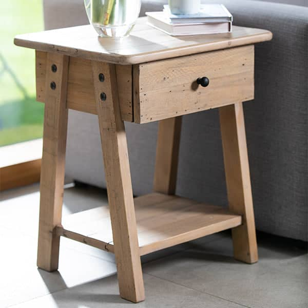 Small wooden Chelwood side table with one drawer and a shelf