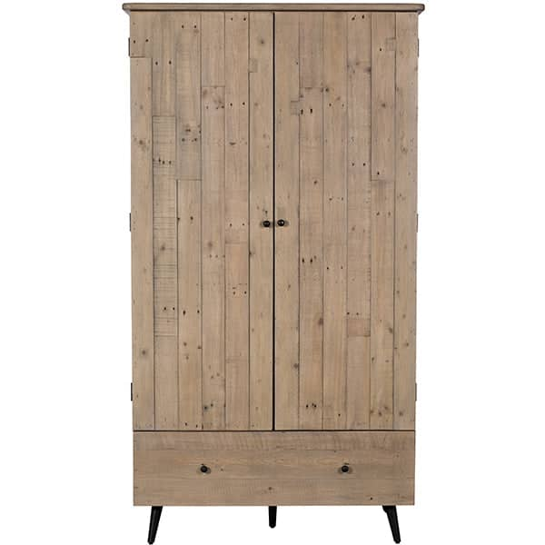 Large reclaimed wood wardrobe with a drawer
