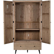 Chelwood reclaimed wood wardrobe open doors showing inside shelf
