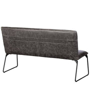 Cleo Faux Leather Industrial Dining Bench Back