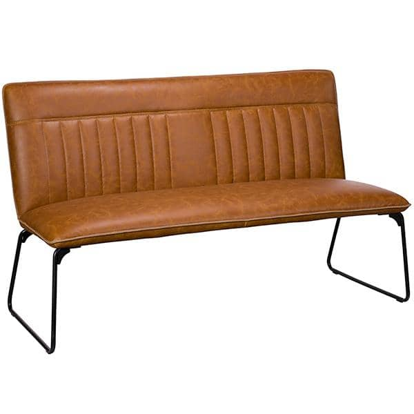 Cleo Faux Leather Dining Bench Tan
