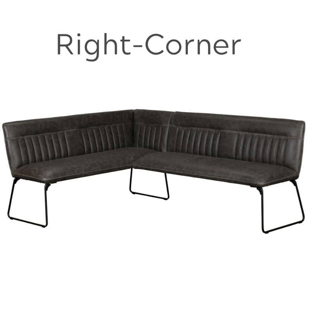 Right Corner Faux Grey Leather Dining Bench