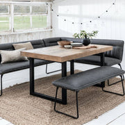 Large Corner Faux Leather Bench with smaller bench around standford reclaimed wood dining table