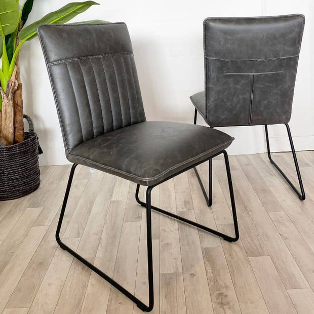 Pair of Cleo Grey Faux Leather Dining Chairs