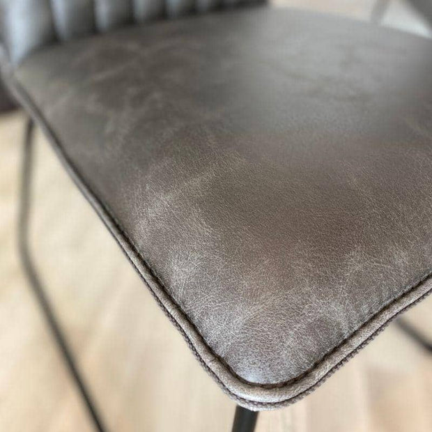 Seat close up for Cleo grey Faux Leather Dining Chair