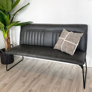 Full length of Cleo Faux Grey Leather Industrial Dining Bench