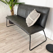 Cleo Grey Faux Leather Industrial Dining Bench with cushion