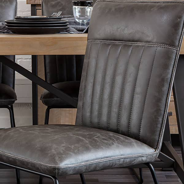Detail of Cleo Faux Leather Grey Dining Chair