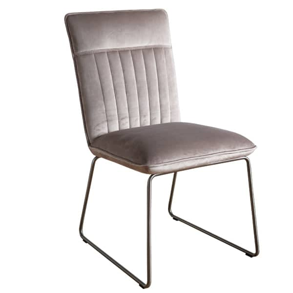 Cleo Velvet Industrial Dining Chair Side