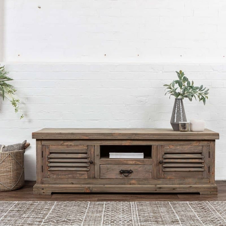 Colette Reclaimed Wood TV Unit with a vase on top