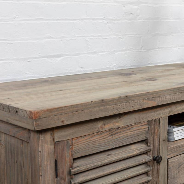 close up of Colette Reclaimed Wood TV Unit