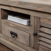close up of shelf on Colette Reclaimed Wood TV Unit