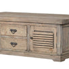Colette Reclaimed Wood Louvred Coffee Table close up - Modish Living