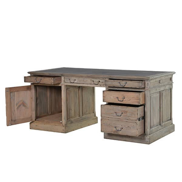 Colette Reclaimed Wood Writing Desk open - Modish Living