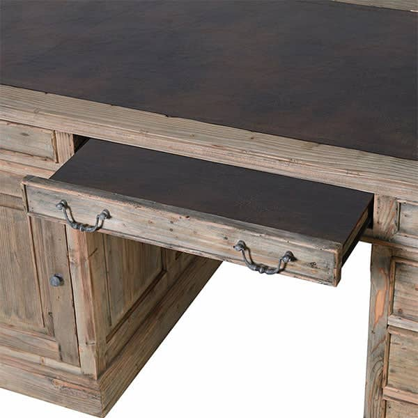 Colette Reclaimed Wood Writing Desk top view - Modish Living