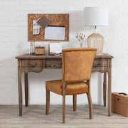 Colette Reclaimed Wood Small Writing Desk with orange fabric dining chair