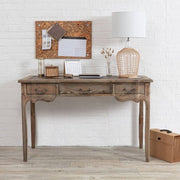 front view of Colette Reclaimed Wood Small Writing Desk