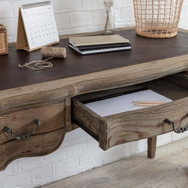 open drawer on the Colette Reclaimed Wood Small Writing Desk