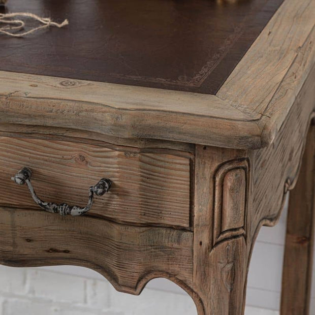 detailed corner of Colette Reclaimed Wood Small Writing Desk