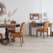 Colette Reclaimed Wood Small Writing Desk set in the dining room with reclaimed round dining table and fabric dining chairs