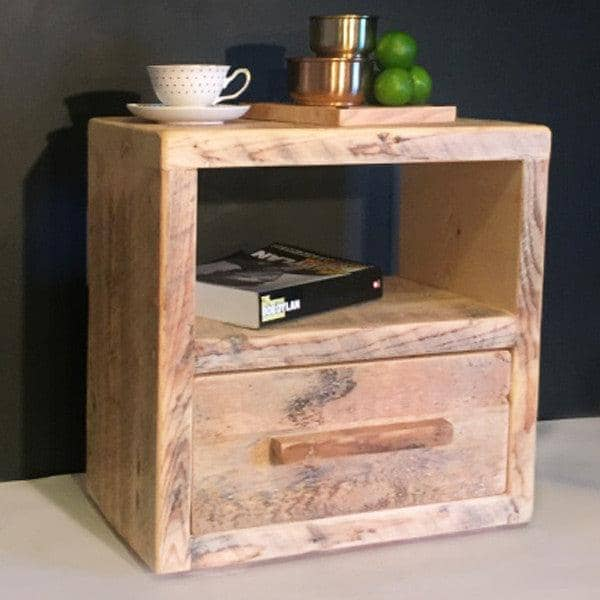 Cube Reclaimed Wood Bedside Table With Drawer.