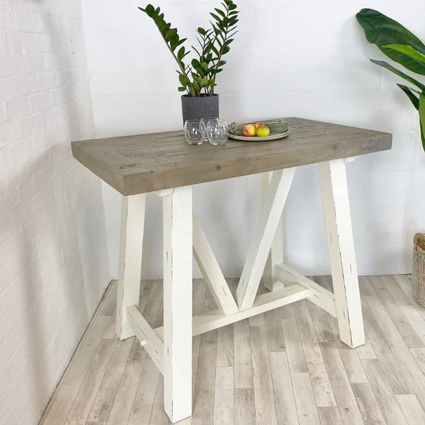 Large White Painted Base Reclaimed Wood Bar Table and Natural Wooden Top