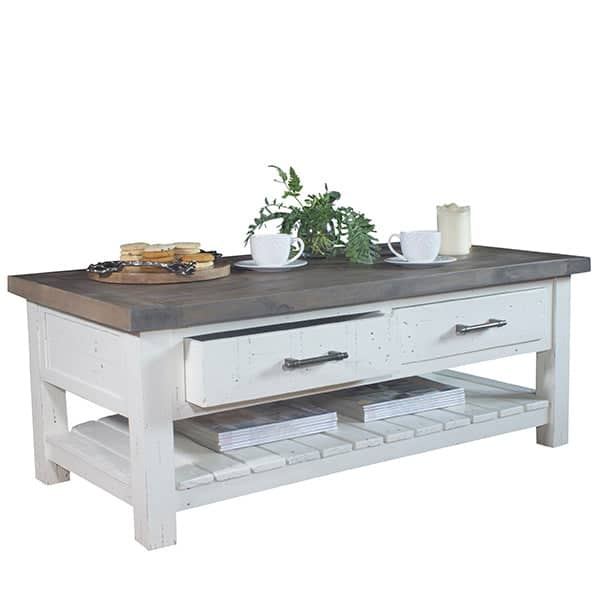 Dorset Reclaimed Wood Coffee Table with Drawers