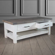 Dorset 2 Drawer Reclaimed Wood Coffee Table Open Drawer