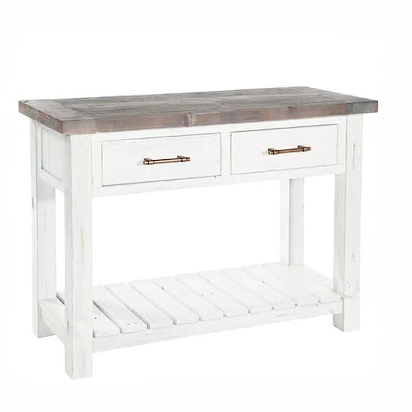 Dorset Reclaimed Wood Console Table with 2 Drawers and Shelf